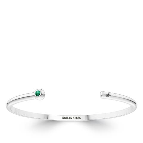 Dallas Stars Engraved Sterling Silver Emerald Cuff Bracelet