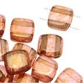 CzechMates Glass 2-Hole Square Tile Beads 6mm 'Rose / Gold Topaz Luster' (1 Strand) - Thumbnail 0