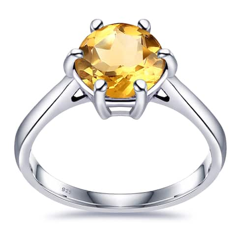 Multi Color Gemstones Sterling Silver Round Solitaire Ring By Orchid Jewelry