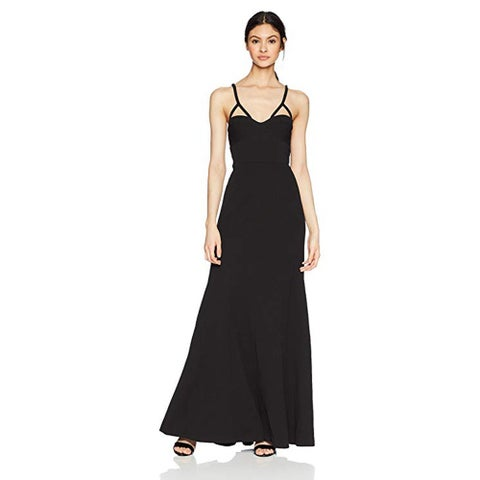 Vera Wang Long Spaghetti Strap Gown Cutout Detail