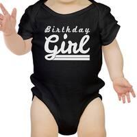 Birthday Girl Gift Baby Bodysuit Cotton Black Easy Snap-On Fasteners