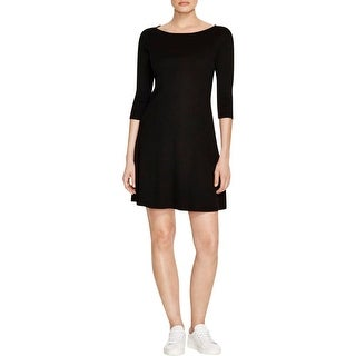 Three Dots Womens Casual Dress Ribbed Knee-Length