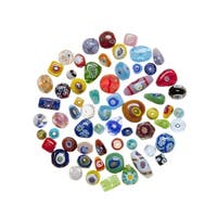 School Specialty Venetian Floral Glass Beads, 4 Ounces, Assorted Colors