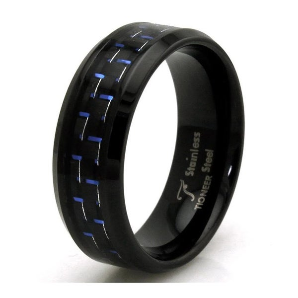 Black Stainless Steel Ring w/ Blue Carbon Fiber Inlay