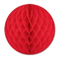 """Club Pack of 12 Red Honeycomb Hanging Tissue Ball Party Decorations 12"""""""