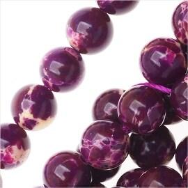 Impression Jasper Gemstone Beads, Round 6mm, 15 Inch Strand, Deep Purple