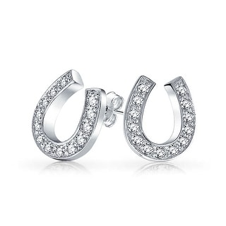 Bling Jewelry Clear CZ April Birthstone Lucky Horseshoe Stud earrings 925 Sterling Silver 10mm