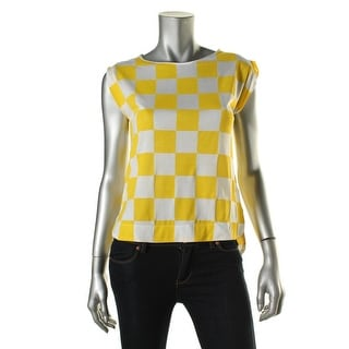 Zara W&B Collection Womens Checkered Sleeveless Blouse - S