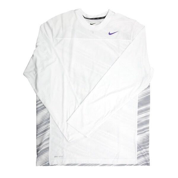 78497e6487b60 Shop Nike Dri-FIT Men s Long Sleeve White Print Purple Logo Training Shirt  - Large - Free Shipping Today - Overstock - 21704151