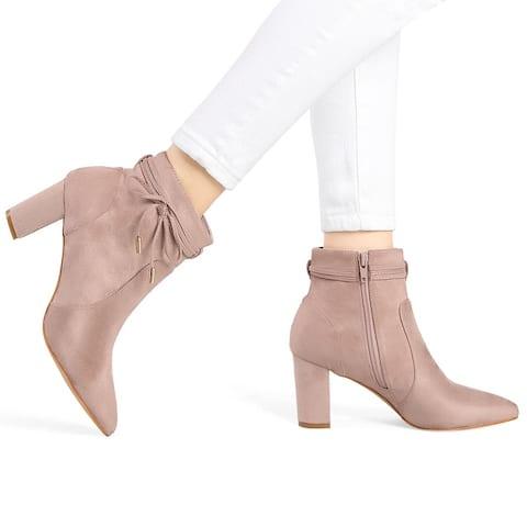 Women's Pointed Toe Block Heel Zipper Ankle Boots