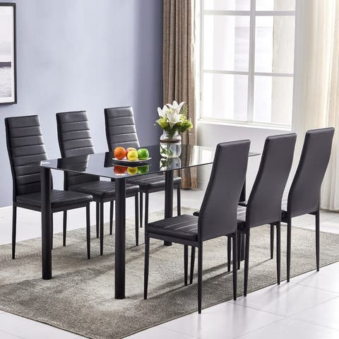 Modern Black Glass-top Iron Dining Table