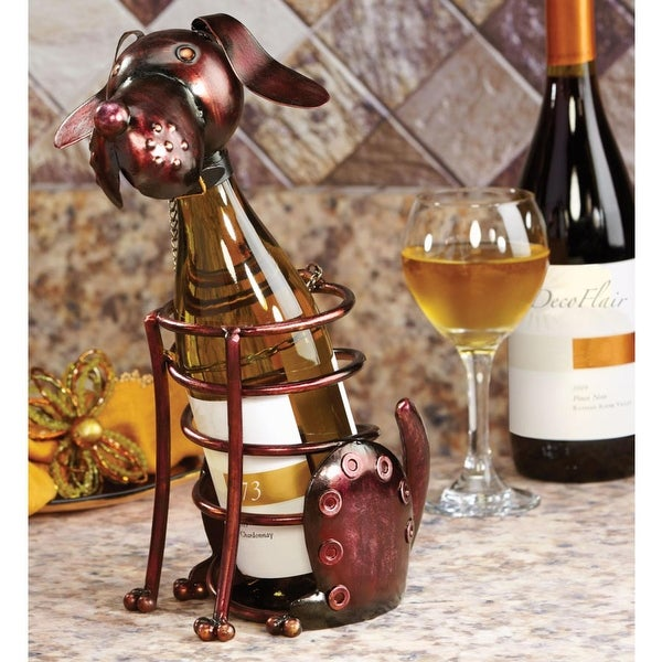 Shop 12 Hand Sculpted Wrought Iron Dog Table Top Wine Bottle Holder