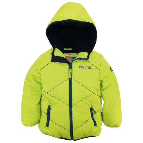 Big Chill Little Boys' Quilted Coat Stitch Winter Puffer Jacket Sherpa Hood 5