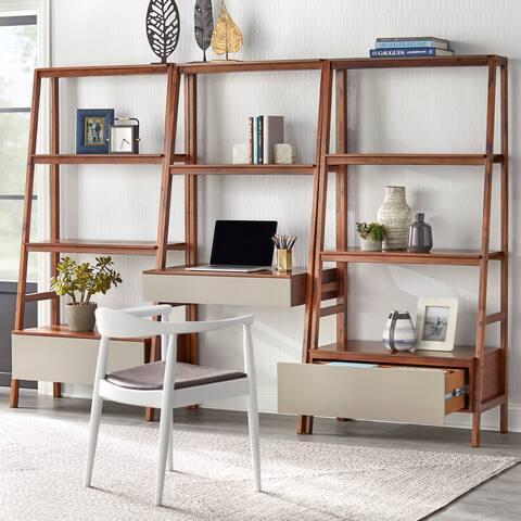 Lifestorey Nordic Ladder Desk and Bookshelf 3-Piece Set