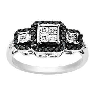 1/5 ct Black & White Diamond Triple Cushion Ring in Sterling Silver