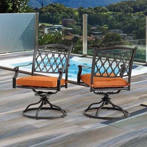 Clihome 2-piece Cast Aluminum Diamond-Mesh Backrest Swivel Chairs - N/A
