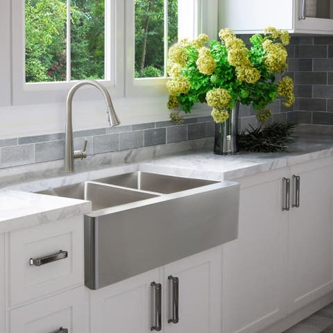 """33""""L x 21""""W Double Basin Undermount Kitchen Sink with Grids and Strainers"""
