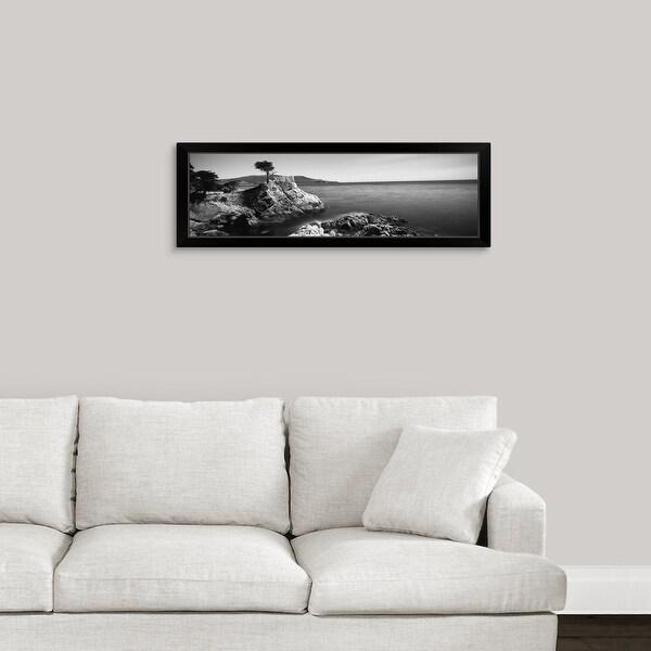 """Cypress tree at the coast, The Lone Cypress, 17 mile Drive, Carmel, California"" Black Framed Print"