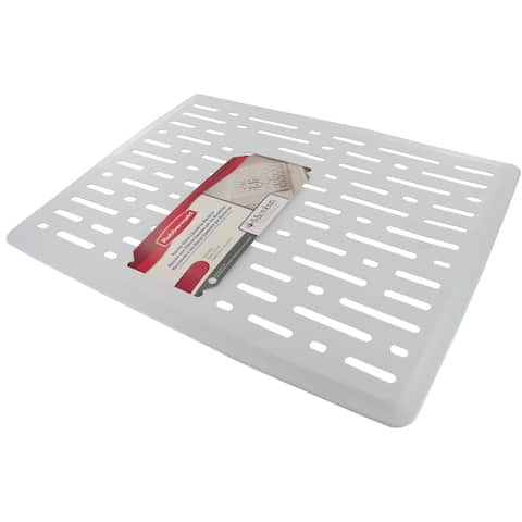 "Rubbermaid 1G1706 10.7"" Wide Single Basin Sink Mat - White"