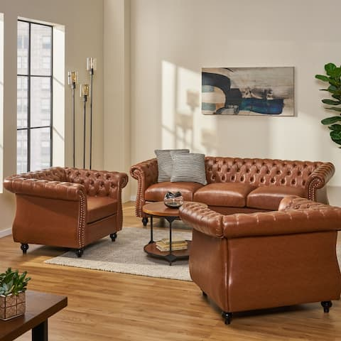 Silverdale Traditional Chesterfield 3 Piece Living Room Set by Christopher Knight Home