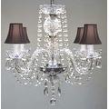 Swarovski Elements Crystal Trimmed Chandelier Lighting All Crystal Chandelier Lighting & Black Shades - Thumbnail 0