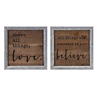 """Set of 2 Brown and Gray Inspirational Quotes Printed Wall Decor 10"""""""
