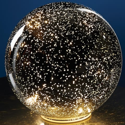 "Large Lighted Mercury Glass Sphere Gazing Ball - Battery Powered - 8"" Diameter - Clear"