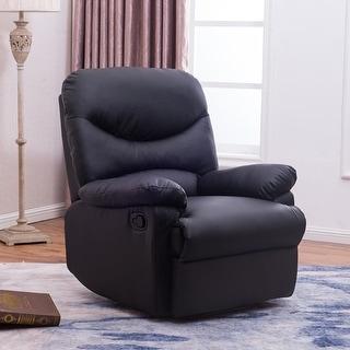 Belleze Padded Recliner Chair Seat Armrest w/ Footrest, Black