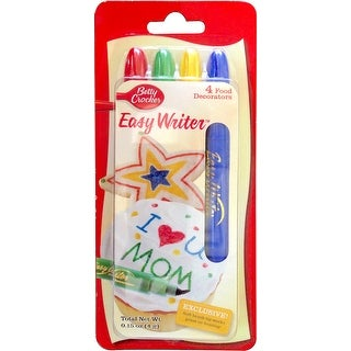 Betty Crocker Easy Writer Food Pen 4/Pkg-Red, Green, Yellow & Blue