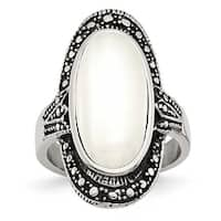 Chisel Stainless Steel Antiqued & White Cat's Eye Ring