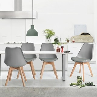 Set of 3 Hago Guest Chair Soft Leather Cushion Dining Side Chair with Wooden Legs (2 White & 1 Grey) - Grey
