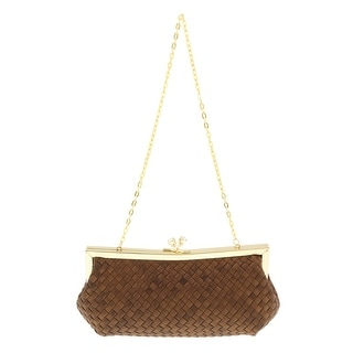 Scheilan Brown Fabric Weave Knot Clutch/Shoulder Bag
