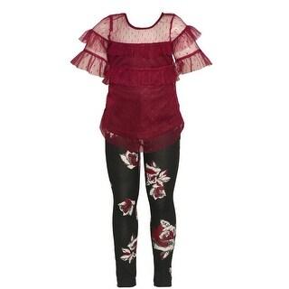 Girls Dark Purple See-Through Overlay Floral Print 2 Pc Legging Set