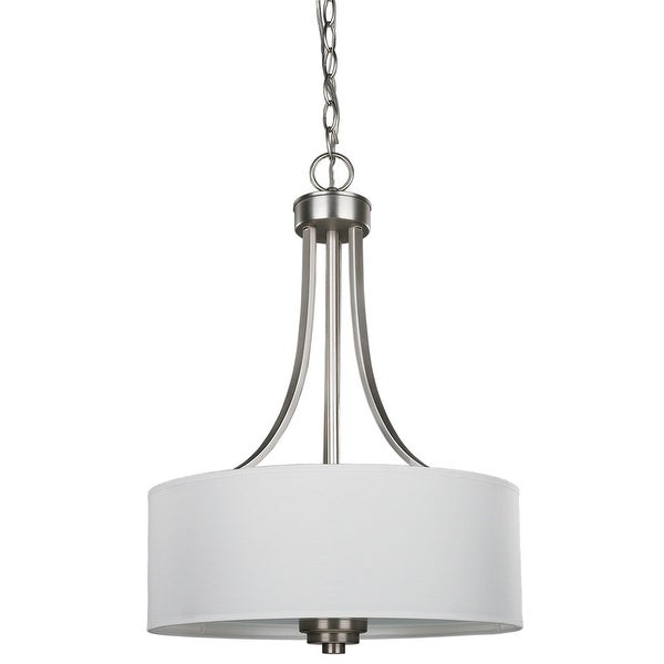Canarm Pier 3 Light Chandelier with White Fabric Shade and Flat Opal ...