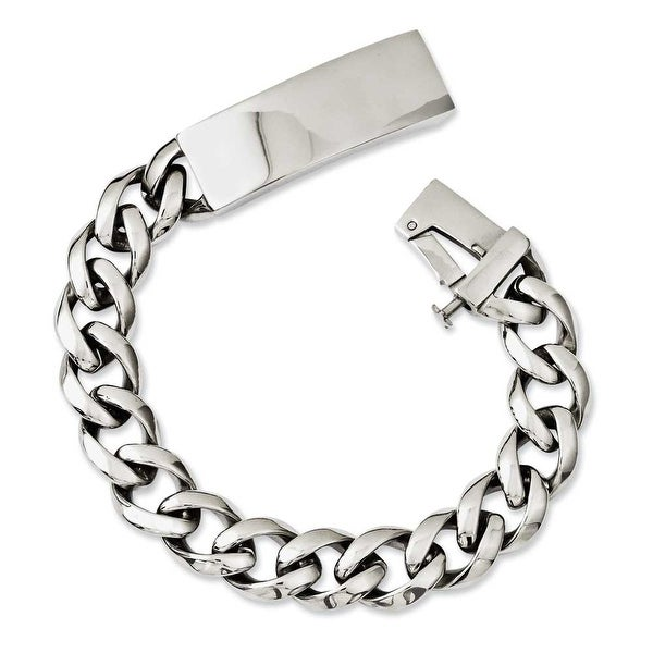 Chisel Stainless Steel Polished with ID Plate 8.5in Bracelet