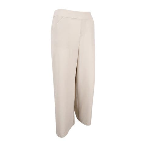 INC International Concepts Women's Cropped Flared-Leg Trousers (6, Toad Beige) - Toad Beige - 6