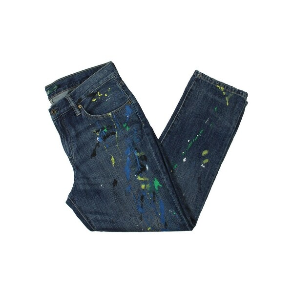 Lauren Ralph Lauren Womens Girlfriend Jeans Splatter Mid-Rise