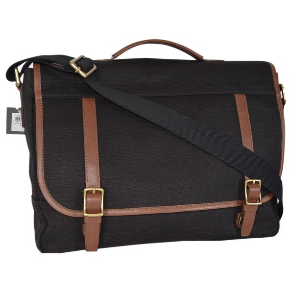 Shop Fossil Men s Black Canvas Evan Messenger Bag Briefcase Bag ...