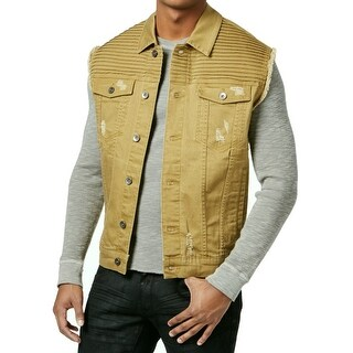 LRG NEW Tabacco Gold Mens 3XL Distressed Payola Pintucked Denim Vest