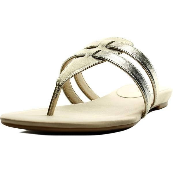 Nine West Outside Women Open Toe Synthetic Gold Thong Sandal