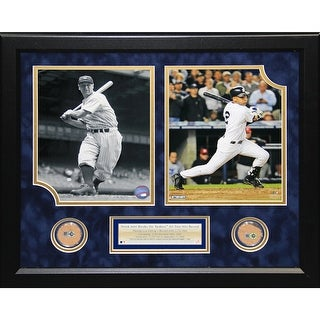 Derek Jeter Lou Gehrig Two Photo Collage w Dirt for The Original and The New Yankee Stadium