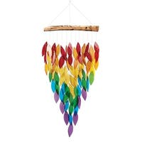 """Songbird Essentials Changing Leaves Wind Chime - Multicolor Glass Leaves & Reclaimed Wood - Hangs 29"""" - 11 in. x 29 in."""