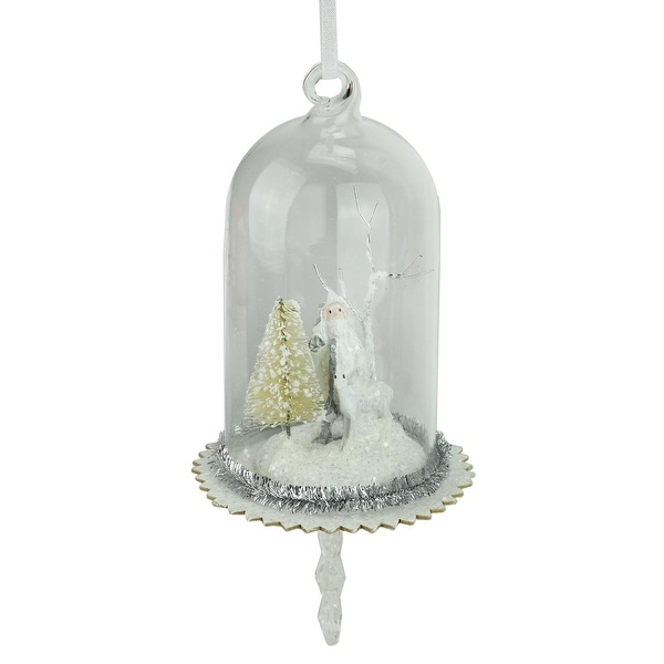 "5.5"" White Santa, Reindeer and Trees in Glass Dome Christmas Ornament with Snowflake Dangle - silver"