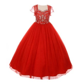 Girls Red Bedazzled Rhinestone Tulle Bolero Special Occasion Dress