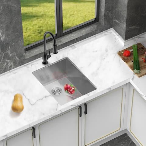 Deep Single Bowl Kitchen Sink Undermount 18 Gauge Stainless Steel