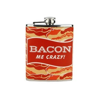 Bacon Me Crazy! Stainless Steel Novelty Drinking Hip Flask - 7 oz