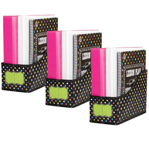 """Chalkboard Brights Book Bin, 5""""W x 8""""H x 11""""D, Pack of 3"""