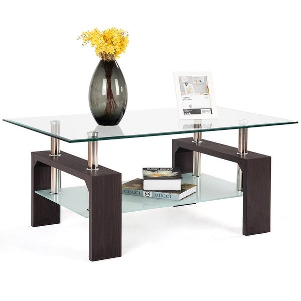 Square Coffee Table Tempered Glass: Shop Costway Rectangular Tempered Glass Coffee Table W