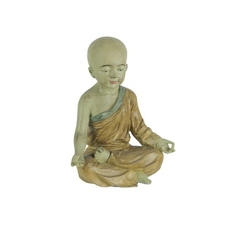Lovely Aged Finish Child Monk Yoga Lotus Pose Statue 6.75 Inches High - 8.5 X 6.5 X 4 inches