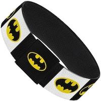 Batman Shield Blocks White Black Yellow Elastic Bracelet